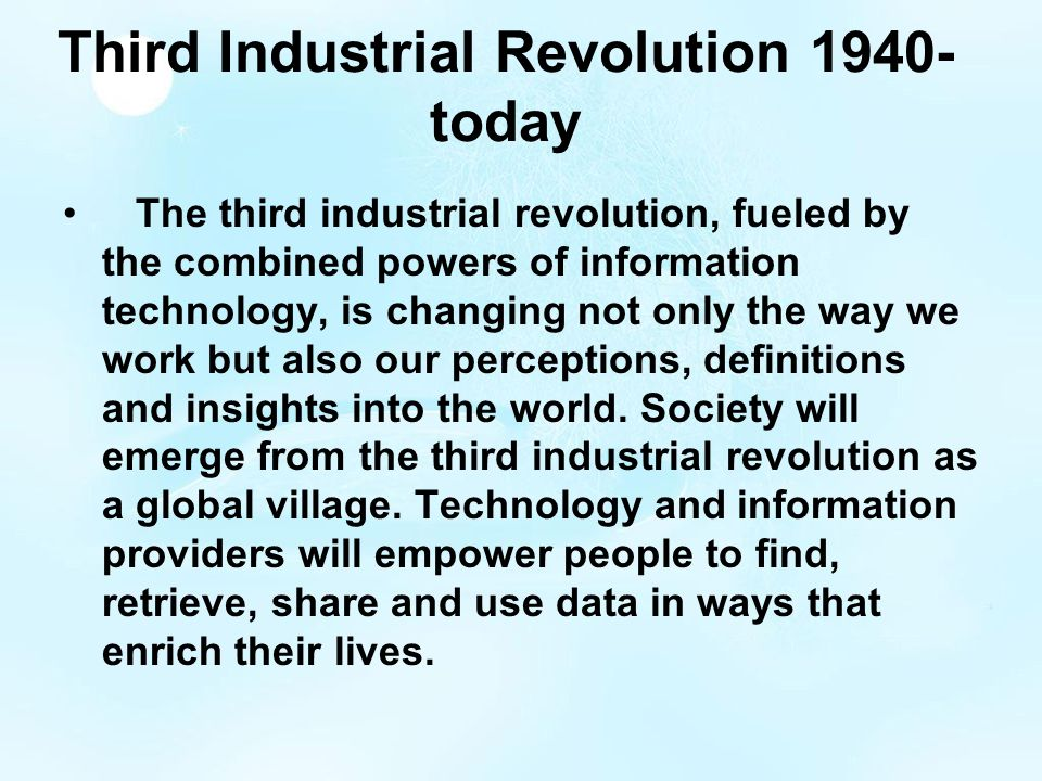 third industrial revolution I just watched an incredibly inspirational talk given by jeremy rifkin, who is an  economic and social theorist, and advisor to both the eu and the.