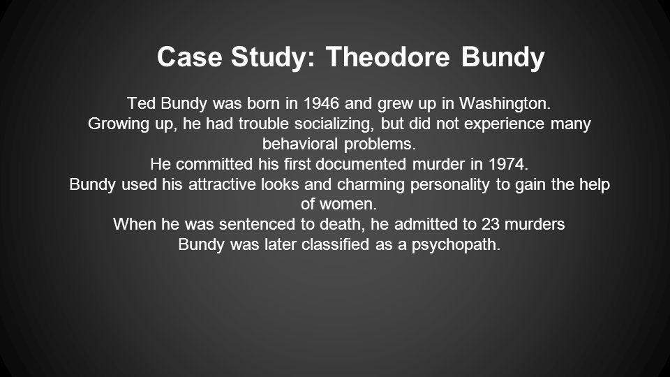 ted bundy research Ted bundy: nature vs nurture ted bundy committed anywhere between 36 and 100 murders she has binders of research, notes.