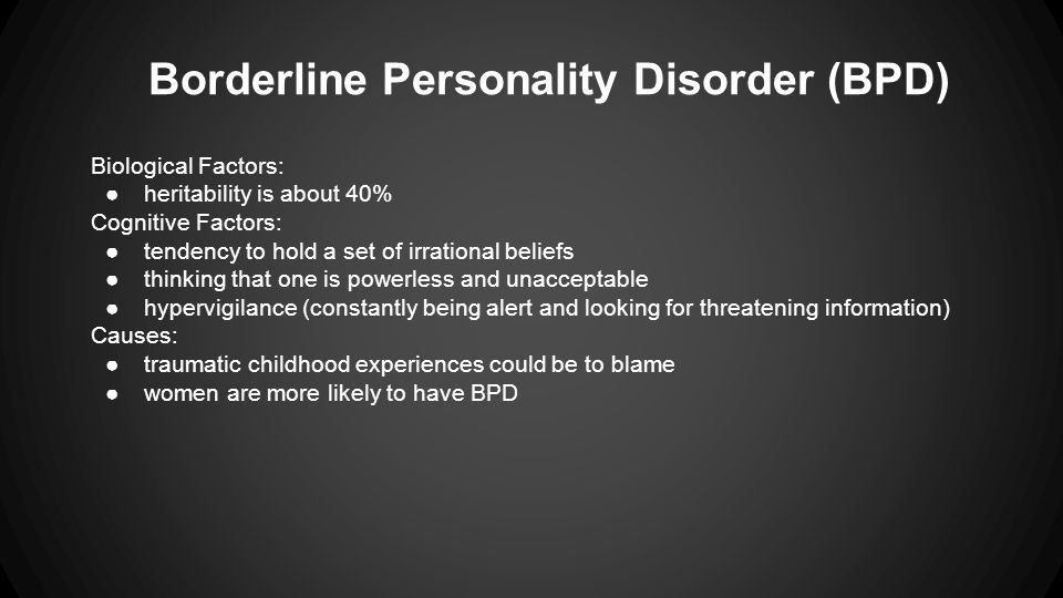 borderline personality disorder thesis Based on the recent death of actor robin williams, the topic of borderline personality disorder has created much buzz you can learn more about bpd here.