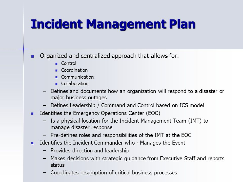 Famous Incident Management Plan Template Images - Example Resume ...