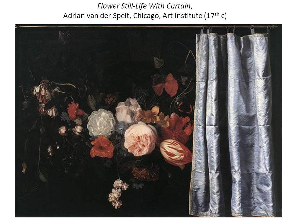 Flower Still-Life With Curtain, Adrian van der Spelt, Chicago, Art Institute (17th c)