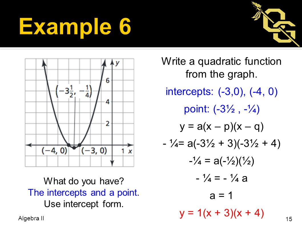 Bellwork homework check algebra ii ppt video online download what do you have the intercepts and a point use intercept form falaconquin