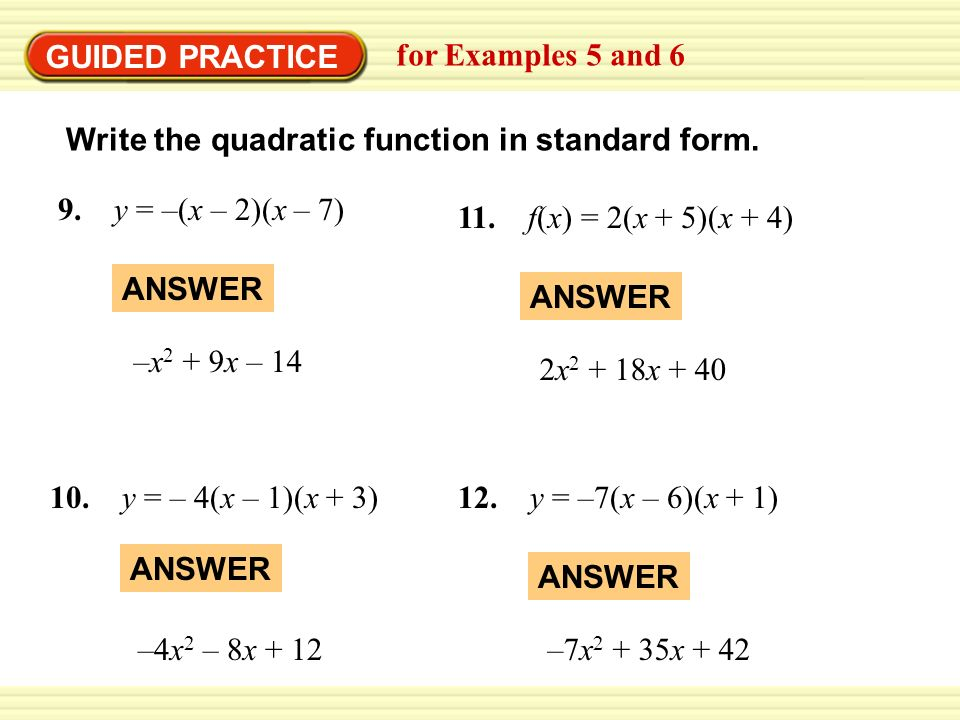 write quadratic function in standard form Equations are in both standard and matching graphs to quadratic equations in standard/vertex/factored form worksheets:writing a quadratic equation.