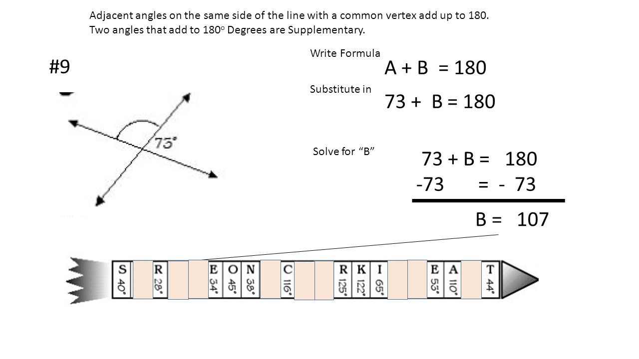 Adjacent angles on the same side of the line with a common vertex add up to 180.