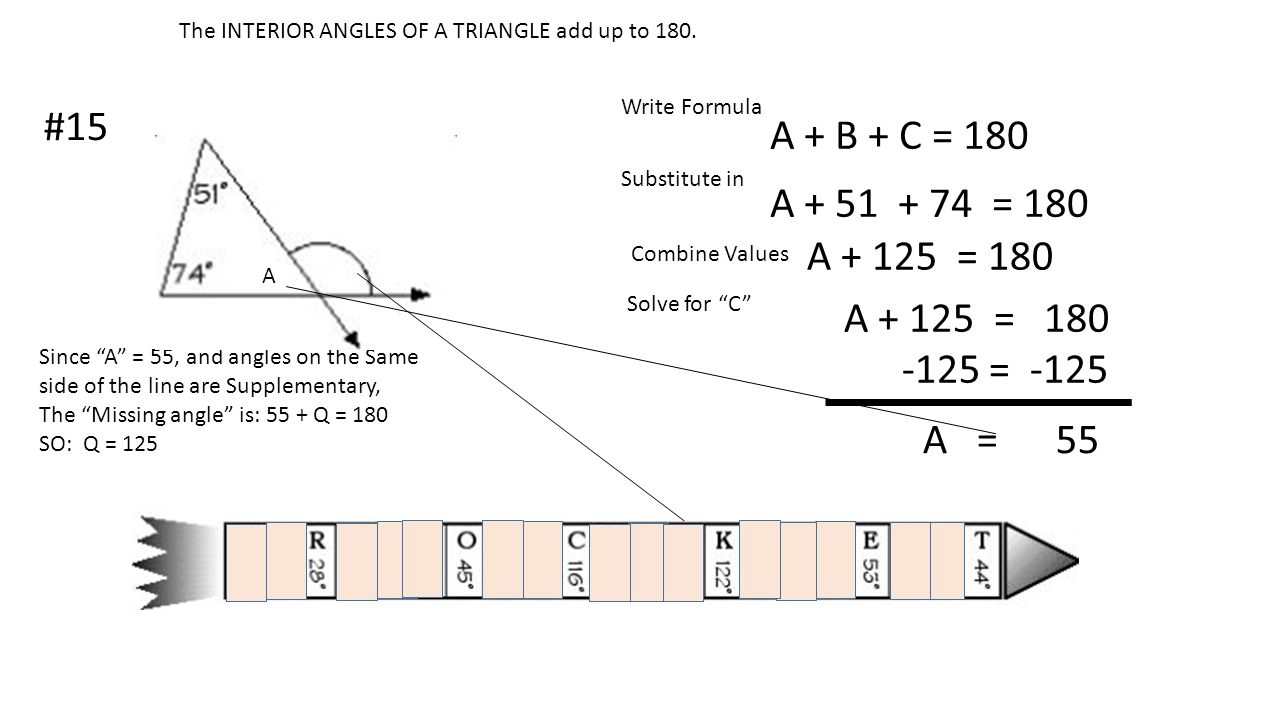 The INTERIOR ANGLES OF A TRIANGLE add up to 180.