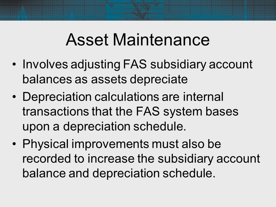 fixed asset acquiring disposal and maintainace Asset maintenance and replacement  capital asset exceeds the proceeds realized upon the asset's disposal net book value is the capital asset cost less.