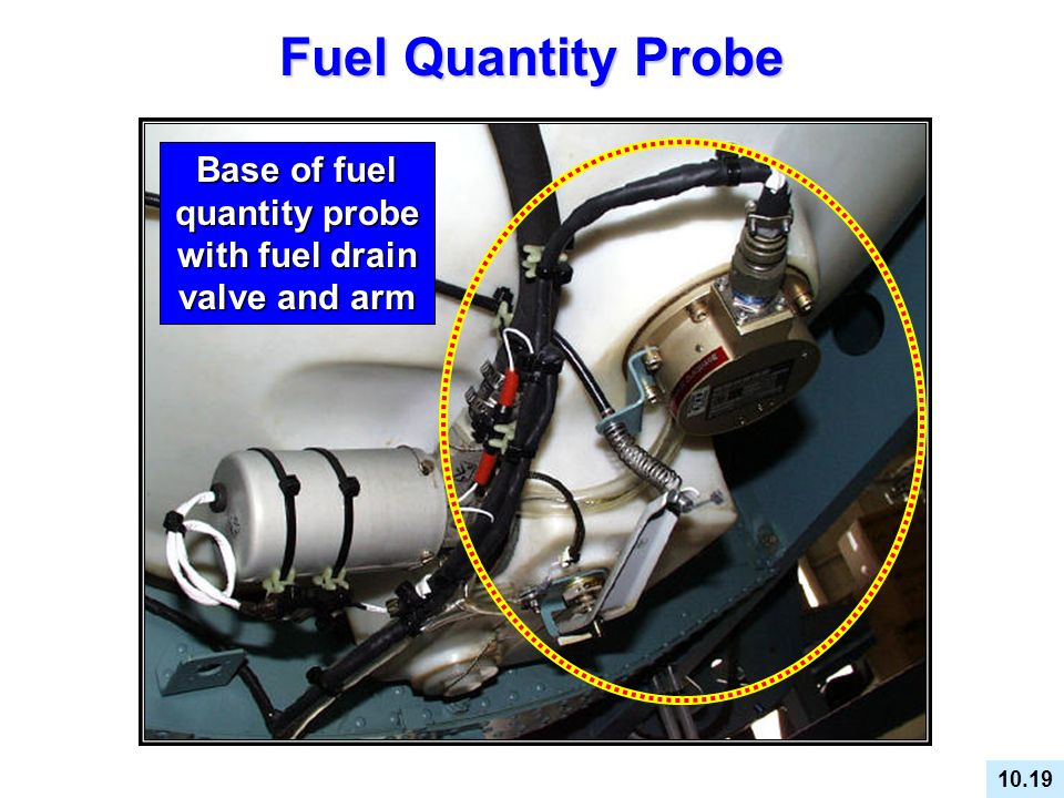 Base of fuel quantity probe with fuel drain valve and arm