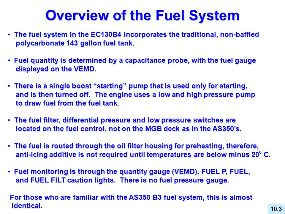 Overview of the Fuel System