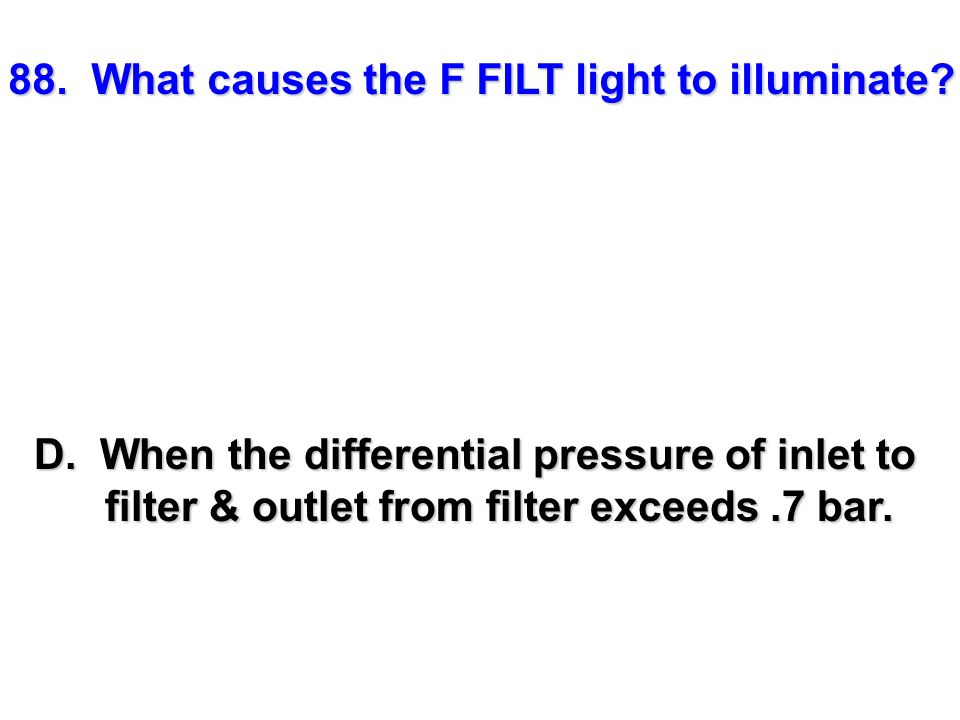 88. What causes the F FILT light to illuminate