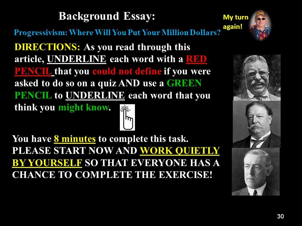 progressivism where will you put your million dollars rdquo ppt background essay my turn again progressivism where will you put your million dollars