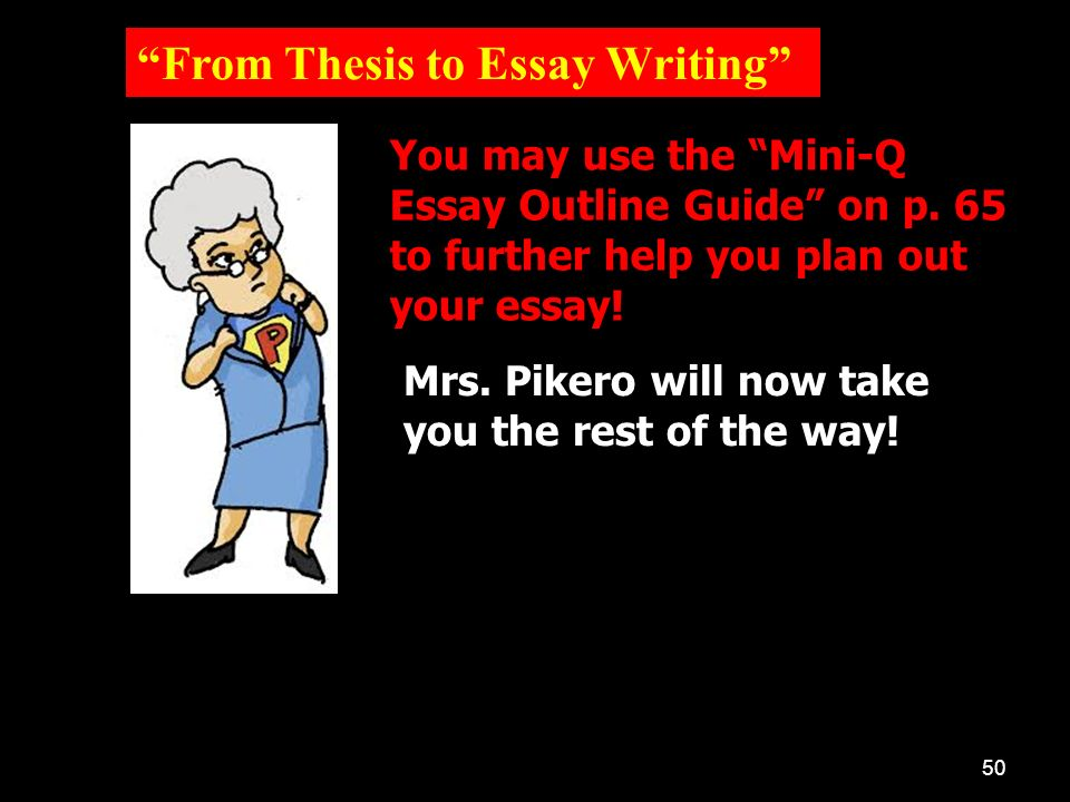 From thesis to essay writing