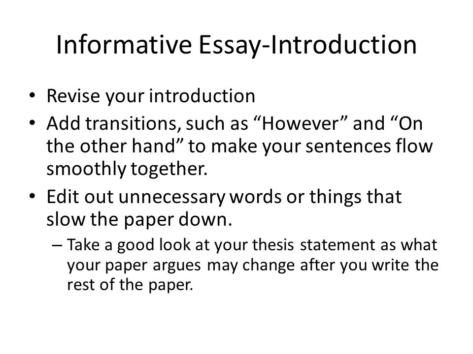 thesis statement and introduction of your essay Your thesis statement should draw together all the background contained in your introduction and turn it into a single, powerful statement think of your introduction like a space shuttle - only components that are absolutely necessary to performance be included in the design.