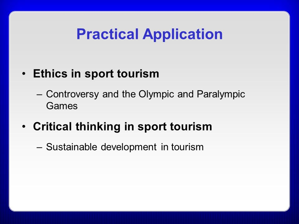 sport and tourism 1 how can i use this document this document is a subject benchmark statement for events, hospitality, leisure, sport and tourism, that defines what can be expected of a graduate in these subjects, in terms of what.