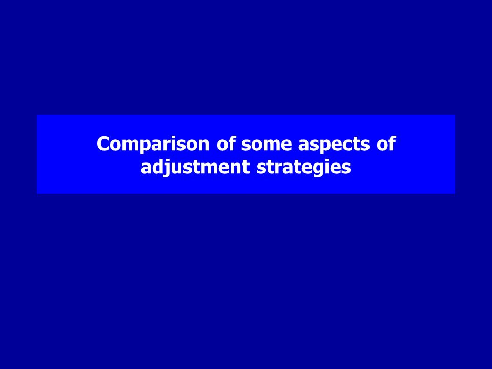 Comparison of some aspects of adjustment strategies