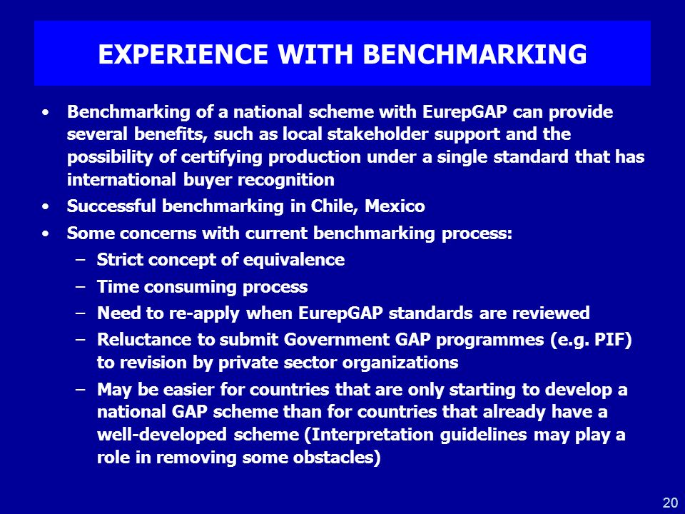 EXPERIENCE WITH BENCHMARKING