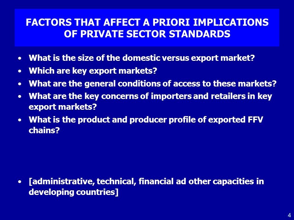 FACTORS THAT AFFECT A PRIORI IMPLICATIONS OF PRIVATE SECTOR STANDARDS