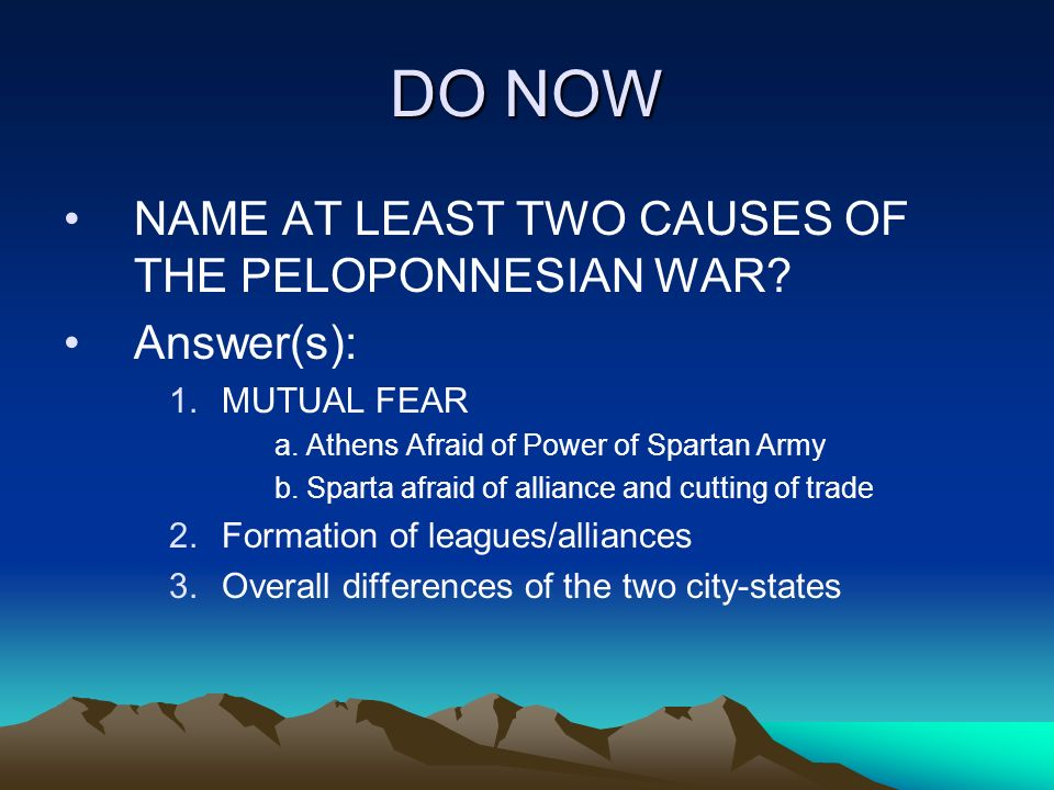 causes of the pelopenesian war Chapter two discusses specifically the causes and outbreak of the second  peloponnesian war and gives fuller details of the politics involved.