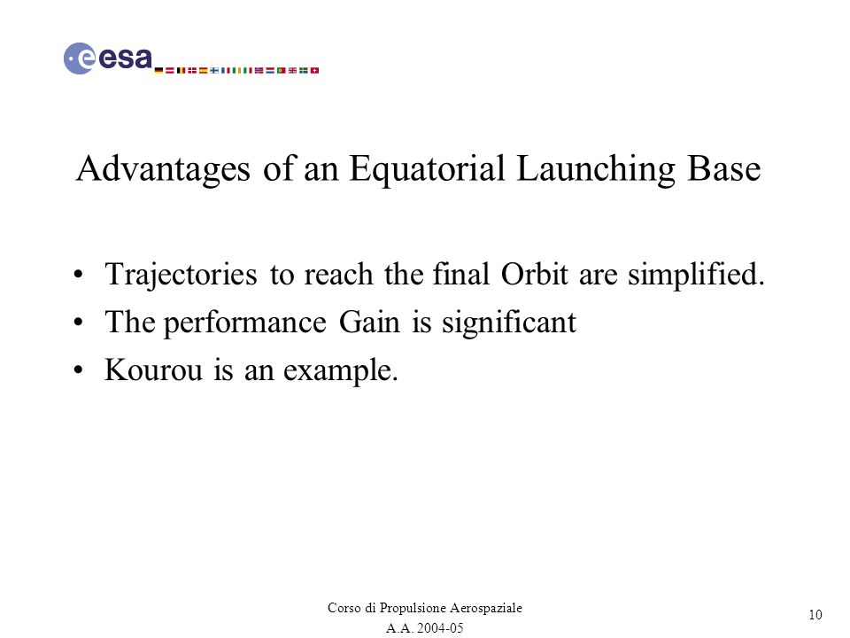 Advantages of an Equatorial Launching Base