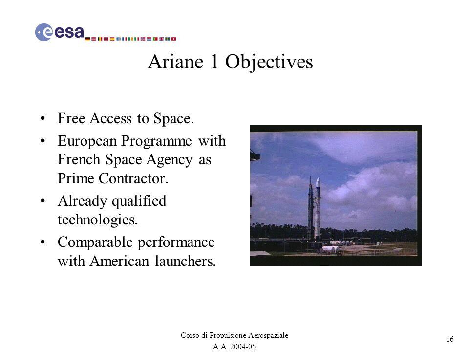 Ariane 1 Objectives Free Access to Space.