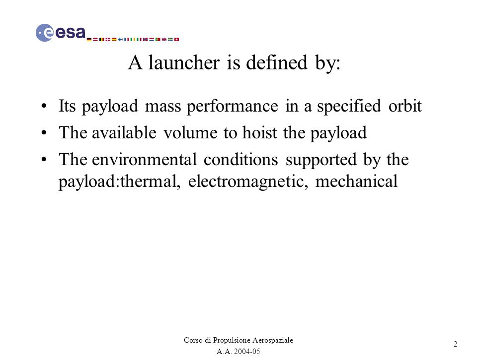 A launcher is defined by:
