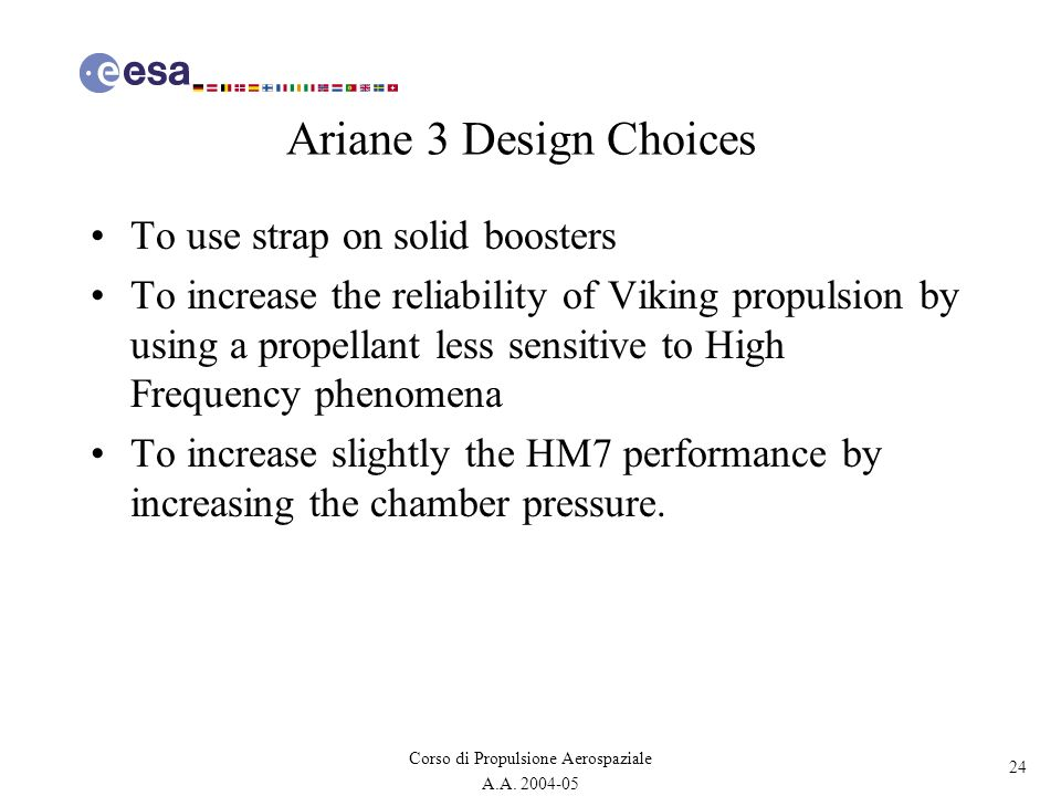 Ariane 3 Design Choices To use strap on solid boosters