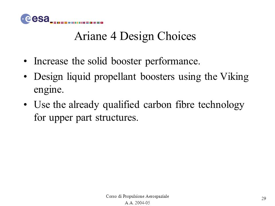 Ariane 4 Design Choices Increase the solid booster performance.