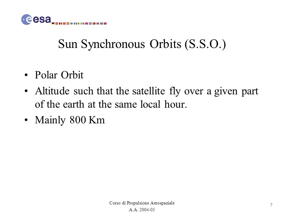 Sun Synchronous Orbits (S.S.O.)