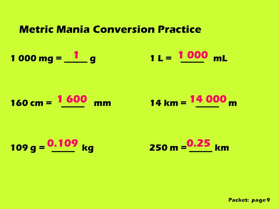 Metric Mania Conversion Practice