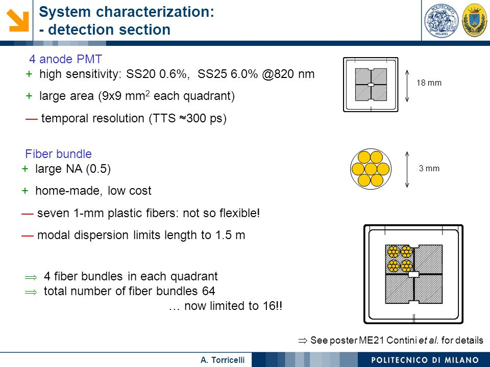 System characterization: - detection section