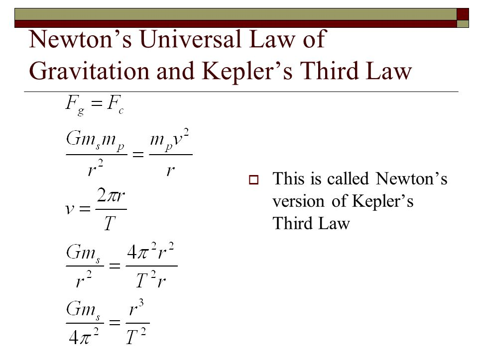 newtons laws of universal gravitation and Law of gravitation definition, a law stating that any two masses attract each other with a force equal to a constant  also called law of universal gravitation.