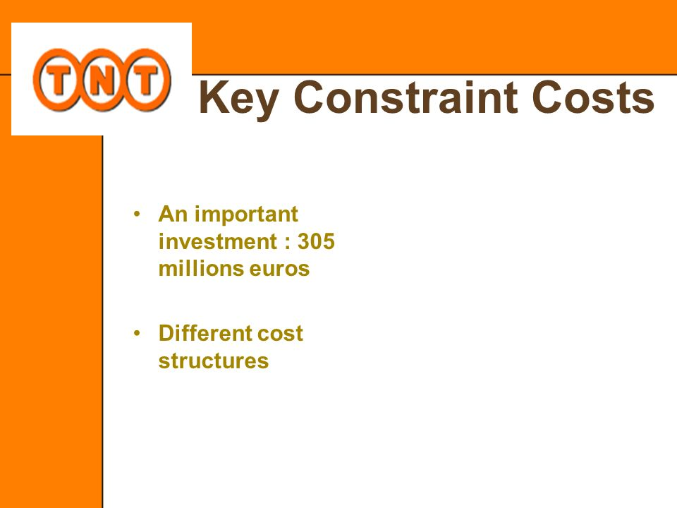 Key Constraint Costs An important investment : 305 millions euros