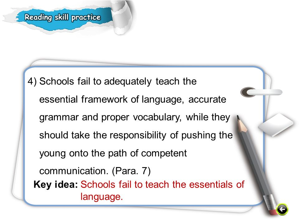 4) Schools fail to adequately teach the essential framework of language, accurate grammar and proper vocabulary, while they should take the responsibility of pushing the young onto the path of competent communication. (Para. 7)