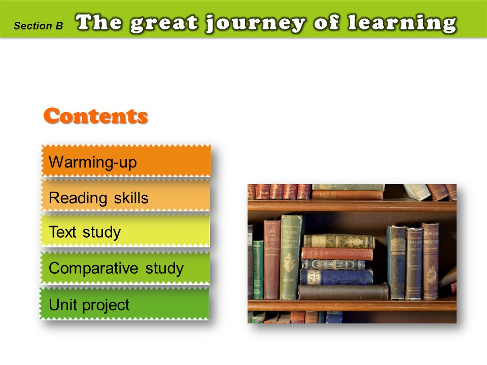 Contents The great journey of learning Warming-up Reading skills