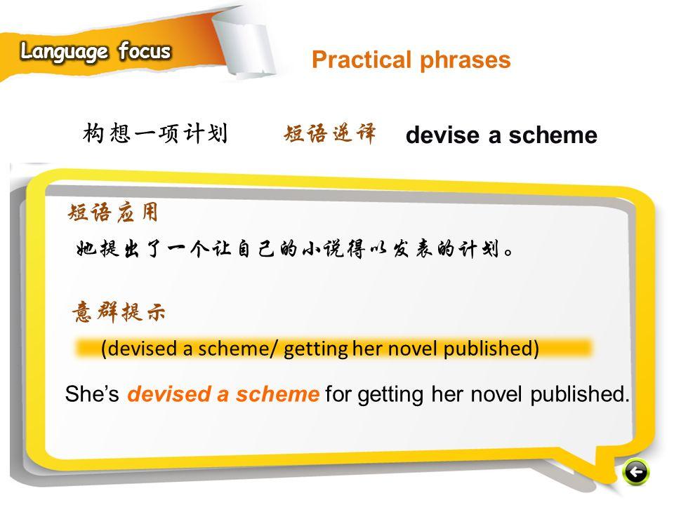 Practical phrases 构想一项计划 短语逆译 devise a scheme 短语应用 意群提示