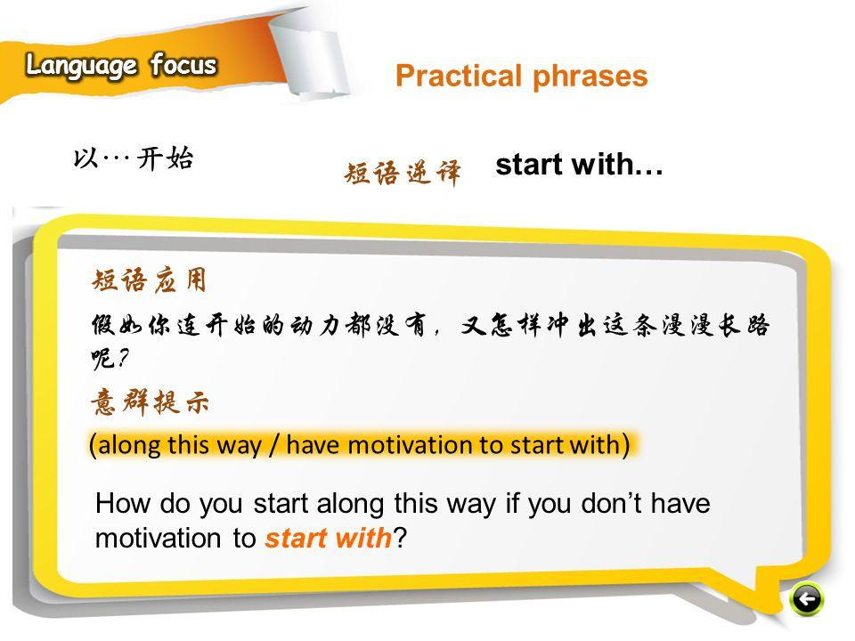 Practical phrases 以…开始 start with… 短语逆译 短语应用 意群提示