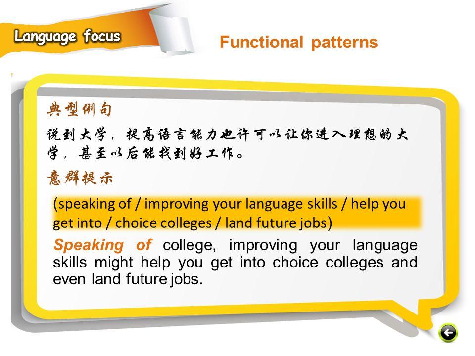 Functional patterns 典型例句 意群提示 说到大学,提高语言能力也许可以让你进入理想的大学,甚至以后能找到好工作。