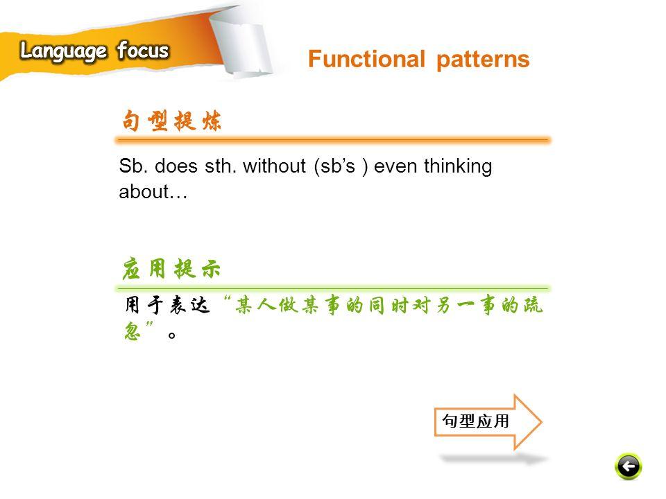 句型提炼 应用提示 Functional patterns 用于表达 某人做某事的同时对另一事的疏忽 。 Language focus