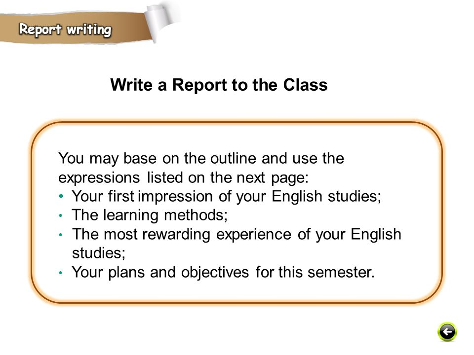 Write a Report to the Class