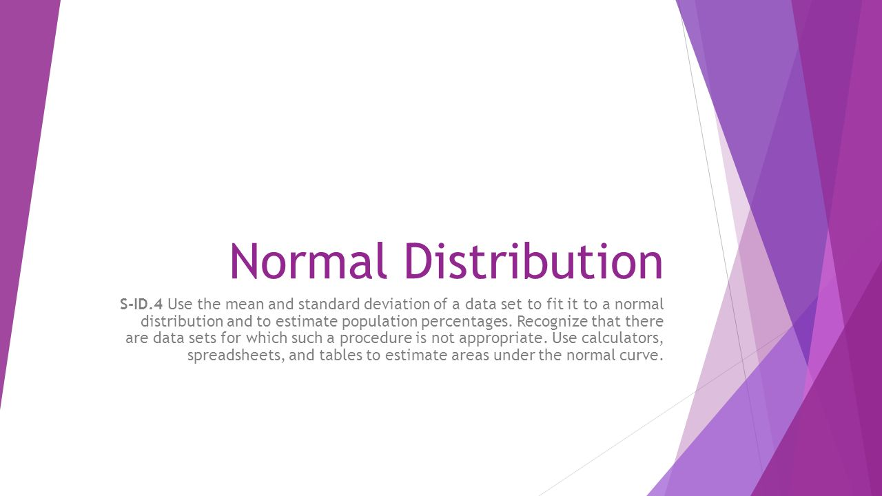 1 Normal Distribution Sid4 Use The Mean And Standard Deviation Of A Data Set