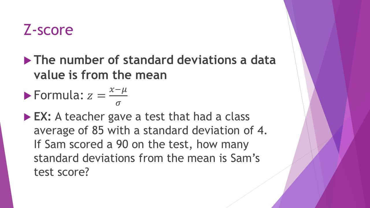 How To Calculate Standard Deviation Equation Z Score The Number Of Standard  Deviations A Data How