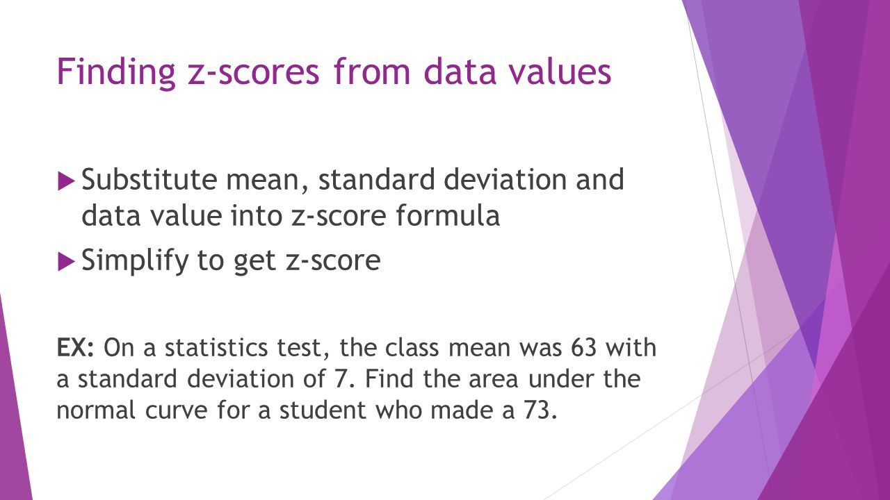 Finding Zscores From Data Values