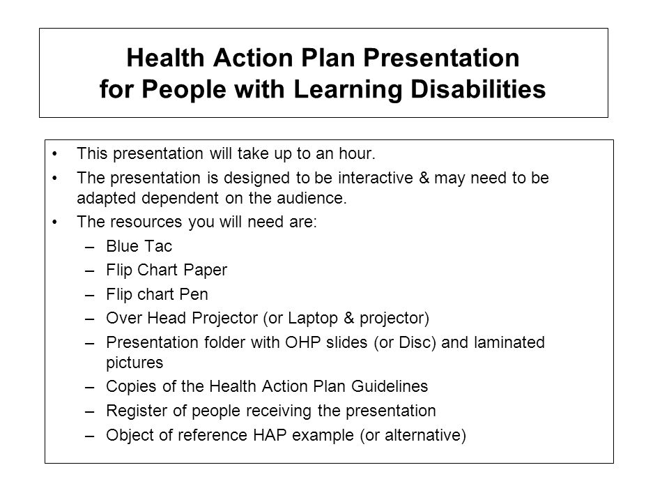 Action Plan Example | Health Action Plan Presentation For People With Learning