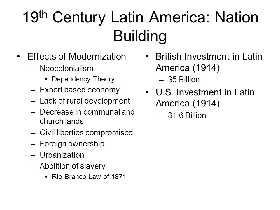 an analysis of latin america in the nineteenth century Latin american 19th century history links, independence from spain, 19th century social developments, political development of individual countries, military conflicts, uk and us involvement, africans in latin america.
