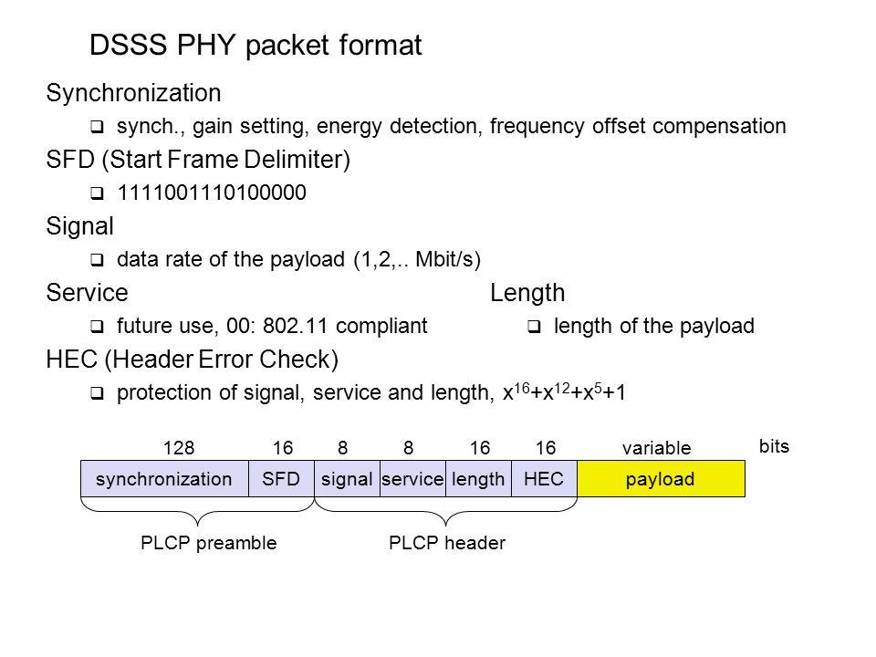 DSSS PHY packet format Synchronization SFD (Start Frame Delimiter ...