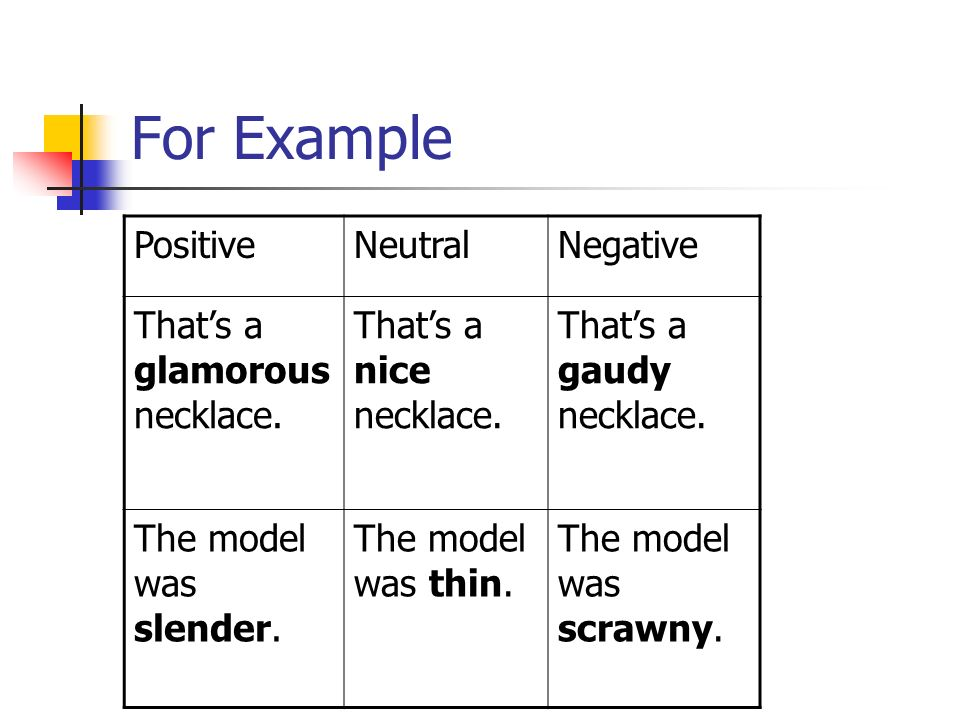 examples of positive and negative shows Negative-positive restatement is a method of achieving emphasis by stating an idea twice, first in negative terms and then in positive terms get examples here.