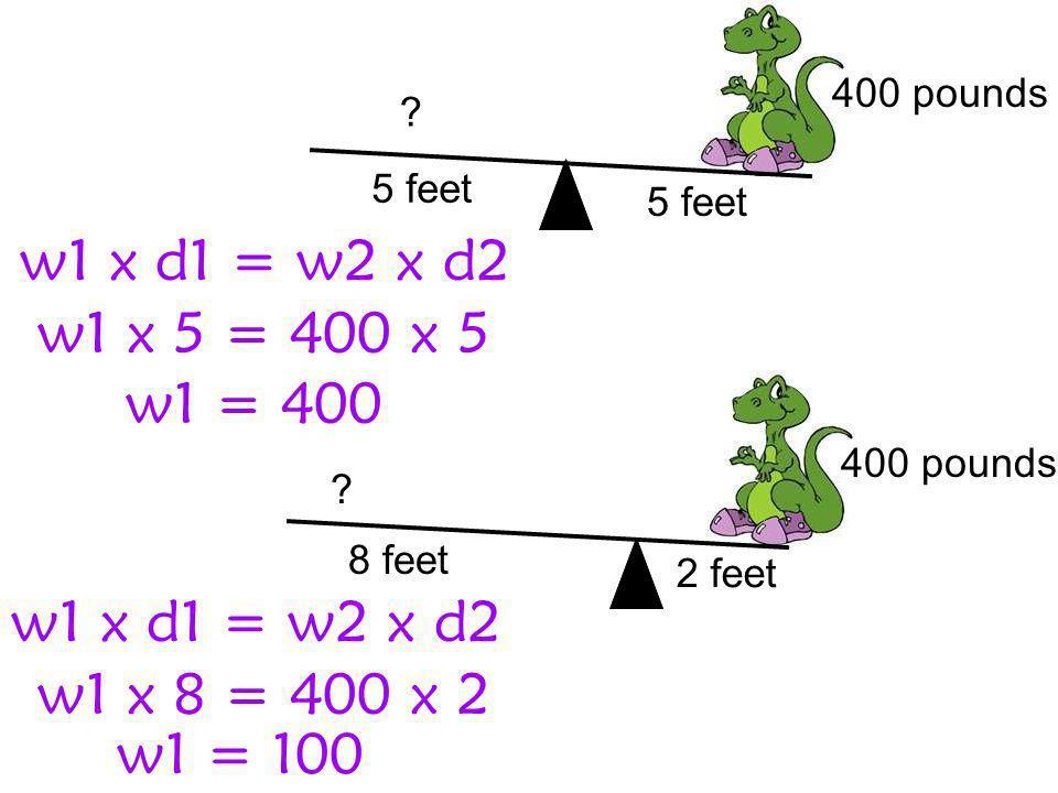 w1 x d1 = w2 x d2 w1 x 5 = 400 x 5 w1 = 400 w1 x d1 = w2 x d2