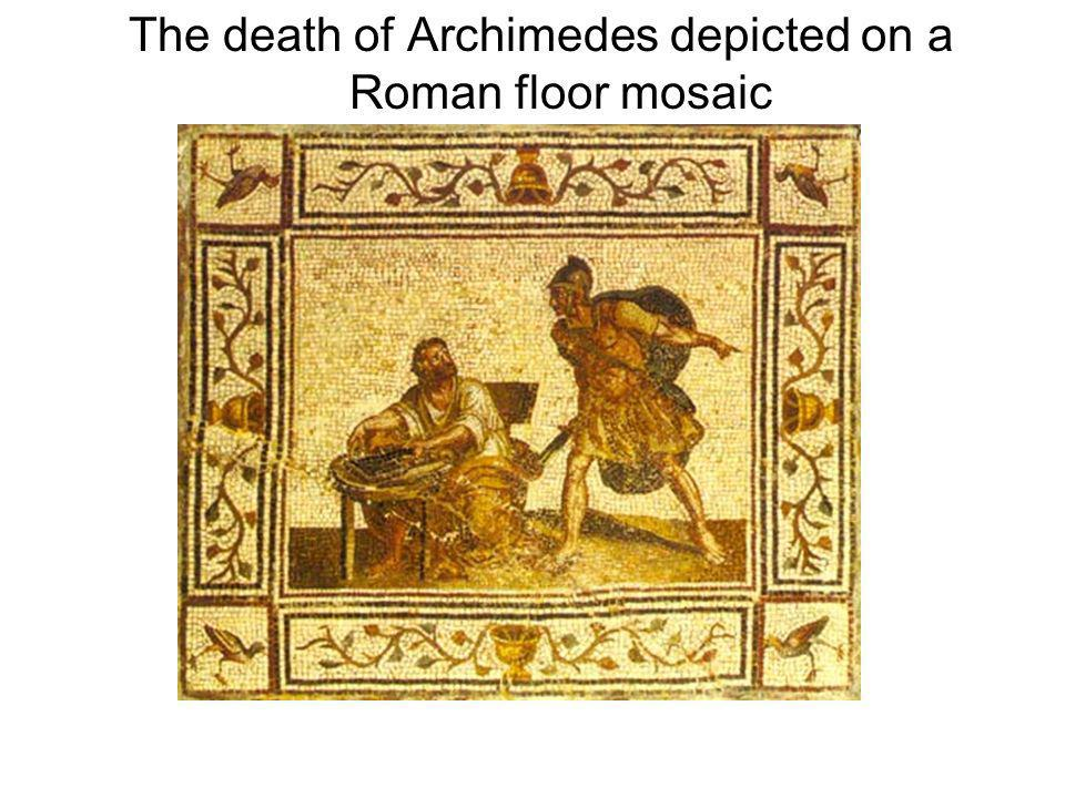 The death of Archimedes depicted on a Roman floor mosaic