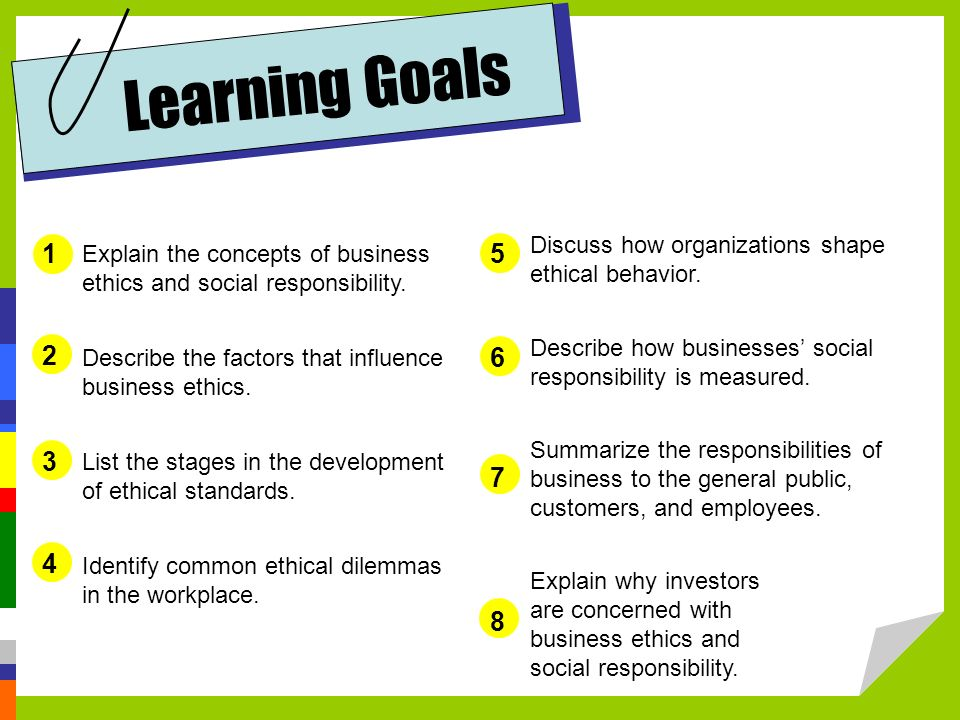 learning goals discuss how organizations shape ethical behavior describe how businesses social responsibility is