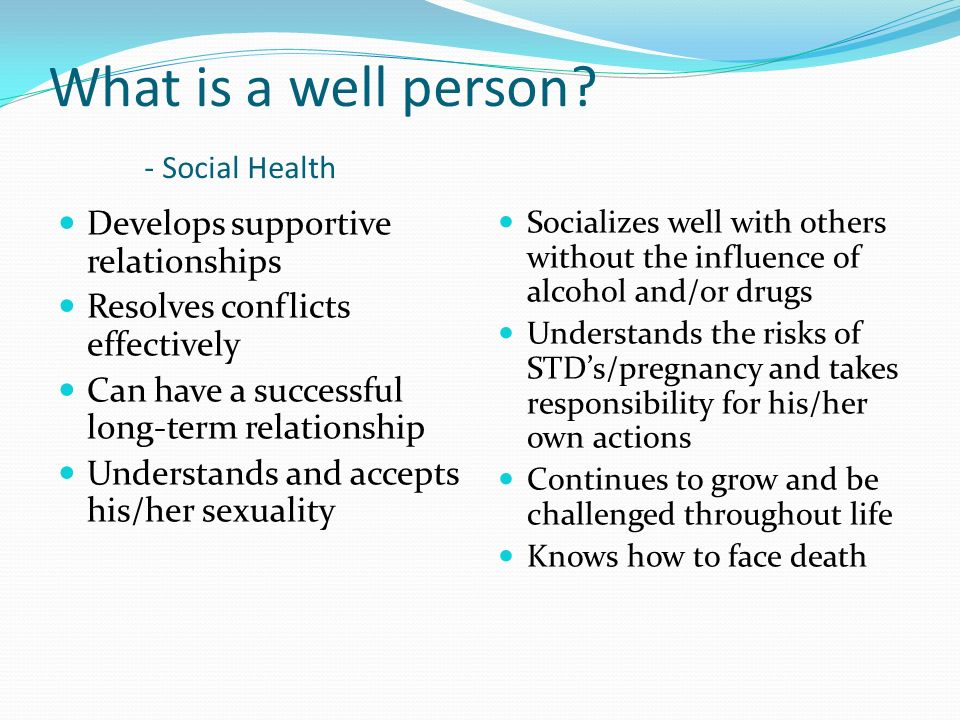 What is a well person - Social Health