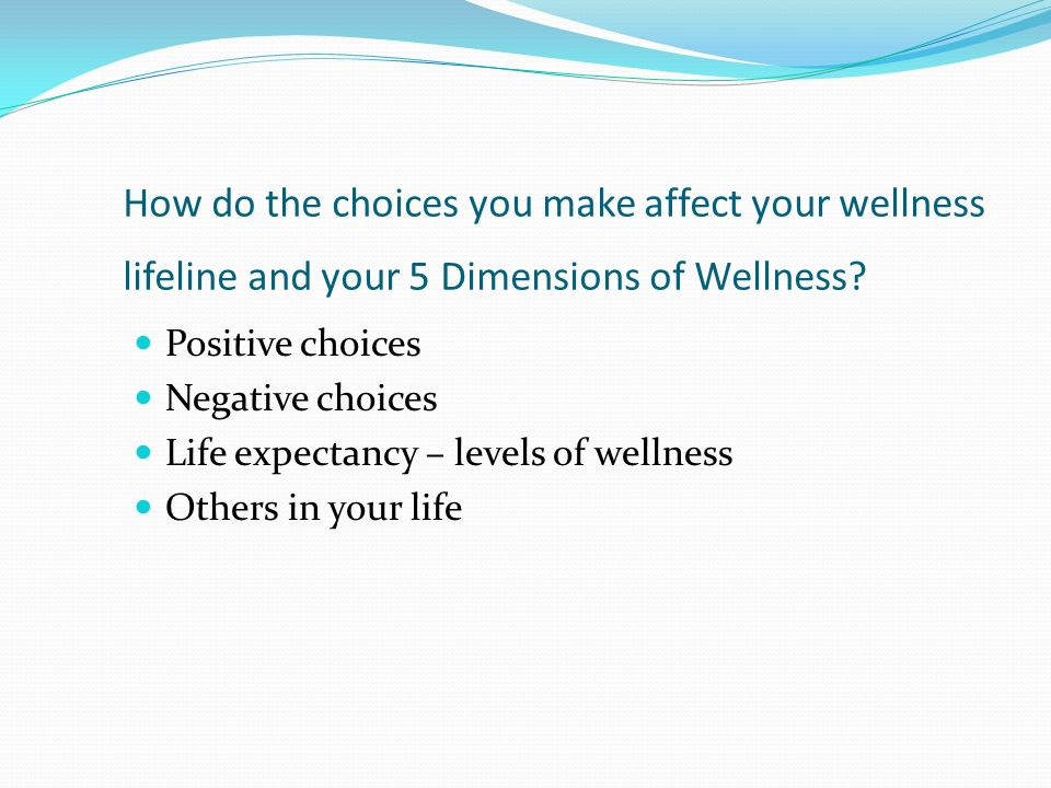 How do the choices you make affect your wellness lifeline and your 5 Dimensions of Wellness